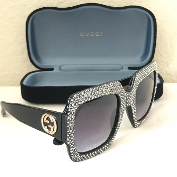 d98ee469855 Gucci Accessories - GUCCI Crystal Trim Square Gradient GG Sunglasses